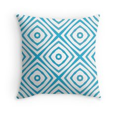 Squares - Throw Pillow Cover - Blue - pop over to the designer's own shop at annumar.com