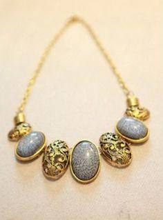 Blue Gemstone Gold Hollow Vintage Necklace
