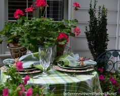 Floral Summer Table Setting Mixing Different Dish Patterns--love the greens and pinks!