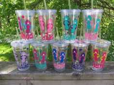 12 Personalized acrylic tumblers  -  Great for destination weddings  - flip flops - buy 5 and the 6th is free.. $120.00, via Etsy.