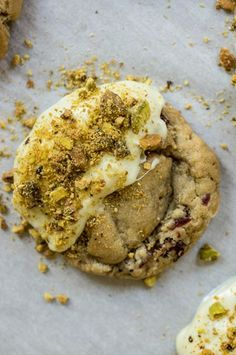 Cranberry and White Chocolate Pistachio Dusted Cookies <--- such a fun party gift idea!
