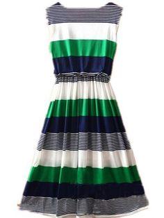 Green Round Neck Sleeveless Striped Mid Waist Dress pictures