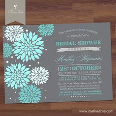 Bridal Shower Invitation - Beautiful Blossom - Vintage, Typography, Poster Style - Tiffany Blue, Turquoise, Grey (DIY Digital Printable) via Etsy