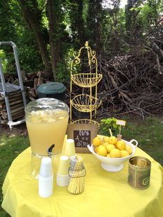 Yellow and grey baby shower vintage decoration lemons outside chevron paper straws mason jars canisters girl