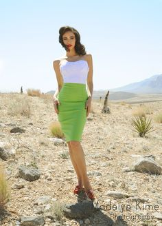 Perfect Pencil Skirt in Lime - The Perfect Pencil Skirt by Dixiefried is made from a high quality, soft, stretch bengaline (not scratchy like the cheap stuff), and features a sexy, fitted silhouette, with a slit that is shorter than most pencil skirts to create a super slimming effect. The waist is slightly higher than natural waist height to help elongate.