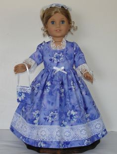 Lilac Colonial Dress designed for American by MargaretteDesigns4AG