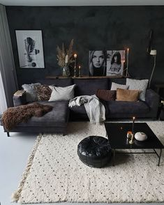 New living room design ideas for apartment interior design 08 Dark Living Rooms, Living Room Decor Cozy, Boho Living Room, Bedroom Decor, Modern Living, Small Living, Masculine Living Rooms, Small Apartment Living, Living Room Ideas Dark Couch