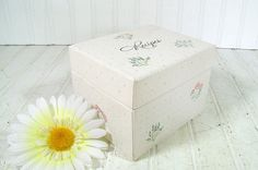 White Floral Recipe Box  Vintage HallMark Cards by DivineOrders, $14.00
