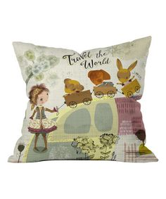 Look what I found on #zulily! Sabine Reinhart 'Travel the World' Fleece Throw Pillow #zulilyfinds
