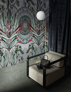 The bright patterned wallpaper adds a funky vibe to this interior featuring IC Lights F by Michael Anastassiades.