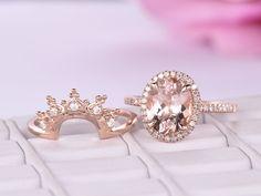 Oval Morganite Engagement Ring Sets Moissanite Tiara Wedding band 14K Rose Gold 8x10mm - 5.75 / 14K Rose Gold
