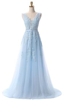 e03ad0940da Backless evening formal prom bridesmaids formal gowns light blue white