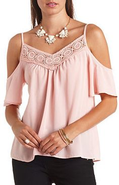 Crochet-Trimmed Swing Cold Shoulder Top