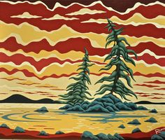 I love the yellow and red and blues! Canadian Artists, Artist At Work, Red And Blue, Art Projects, Artsy, Clouds, Crafty, Wall Art, Drawings