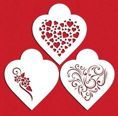 Contemporary Hearts Stencil Set for Cookies Cakes by LilyBearLane
