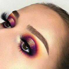 Purple and yellow toned eyeshadow glam
