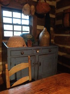 Sometimes people ask me what to do with a dry sink?  An idea!  Early blue dry sink....