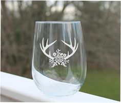 Your place to buy and sell all things handmade Fun Wine Glasses, Etched Wine Glasses, Personalized Wine Glasses, Glass Engraving, Wine And Beer, Deer Antlers, Glass Etching, Glass Design, Wedding Dreams
