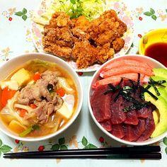 海鮮丼と唐揚げと豚汁 - 15件のもぐもぐ - 今日の夕食(^ ^) by gogonacchan1130