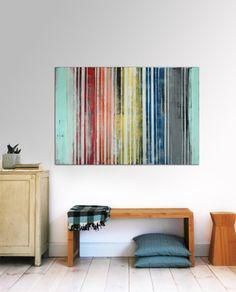 Grand abstrait peinture rayé couleurs par RonaldHunter sur Etsy