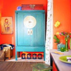 Beautiful blue armoire, not sure about the surroundings...