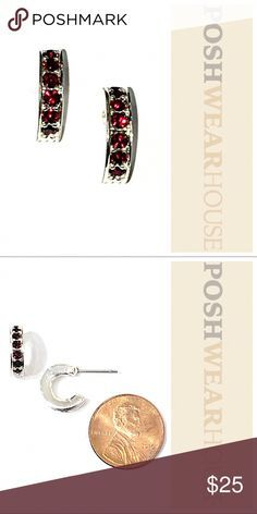 e1be9661c Ruby & Silver Plated Half-Hoop Earrings Excellent Condition!!! Sterling  Silver Posts