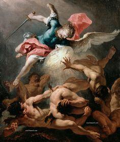 """Sebastiano Ricci - """"La caída de los angeles rebeldes"""".1720"""