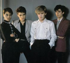 Japan band photo. Mick Karn, Steve Jansen, David Sylvian, Richard Barbieri.