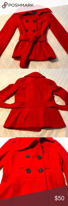 """Zara Red Wool Winter Coat Gorgeous wool blend Zara coat that makes a statement w/its vibrant fire truck red color! 4 pockets on outer front. Measu: 18.5"""" armpit to armpit - 26.5"""" top of shoulder to bottom (sizes approximate). Has attached belt. Flaws: The care tag was cut out. Coat was dry cleaned recently. *Preloved item from multiple owners & has lingering storage odors. I try to eliminate all odors the best I can but sometimes it is impossible. What everyone is sensitive to differs…"""