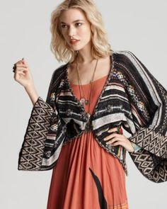 Free People NEW Multi-Color Striped Bell Sleeve Cropped Cardigan Sweater S BHFO