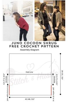 Juno Cocoon Shrug Free Crochet Pattern - takes 4 super bulky skeins yds ea) Crochet Cardigan Pattern, Crochet Jacket, Crochet Shawl, Free Crochet, Knit Crochet, Crochet Patterns, Crochet Shrugs, Crochet Sweaters, Sewing Patterns