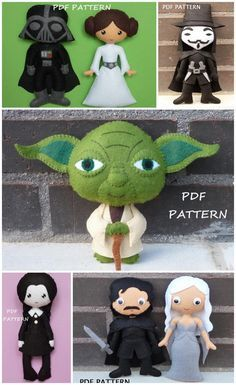 Best Geek felt doll sewing patterns for kids of all ages. Star Wars (or course), including Darth Vader, Princess Leia and Yoda, Wednesday from The Addams Family and Jon Snow and Danerys Targaryen from Game of Thrones.