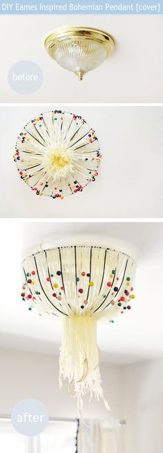 DIY ceiling light fixture cover- eames bohemian beaded feathered lamp Looks like something out of a fairy tale ball.