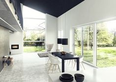 Choosing windows and doors - turning a house into a home with Rationel windows and doors. Exterior Patio Doors, Sliding Patio Doors, Patio Windows, Windows And Doors, Aluminium Cladding, Insulated Panels, Laminated Glass, Modern Design, Dining Table
