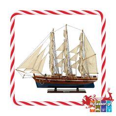 Υπέροχο ξύλινο #καραβάκι για παραδοσιακά Ελληνικά #Χριστούγεννα σε αποχρώσεις του μπλε και του καφέ! ⛵🇬🇷️  🎅Θα το βρείτε στο #MySeason! 🎅