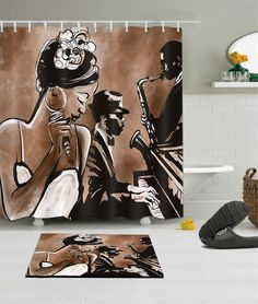 """72/79"""" Bathroom Mat Polyester Waterproof Shower Curtain Hook African Woman Music Ruffle Shower Curtains, Bathroom Shower Curtains, Bathroom Mat, Bathroom Ideas, Skull Shower Curtain, Shower Curtain Rods, Plastic Curtains, Cube Design, How To Make Curtains"""