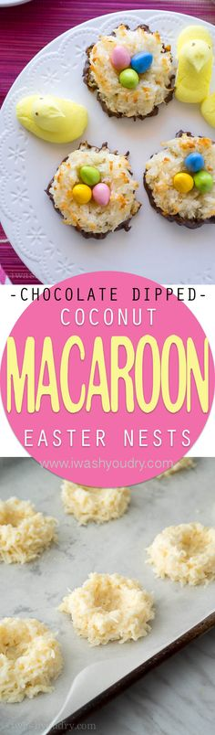 How adorable are these Chocolate Dipped Coconut Macaroon Easter Nests? They're so easy to make too!How adorable are these Chocolate Dipped Coconut Macaroon Easter Nests? They're so easy to make too! Easter Recipes, Appetizer Recipes, Dessert Recipes, Easter Desserts, Easter Candy, Easter Treats, Easter Food, Hoppy Easter, Easter Eggs