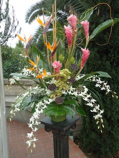Tropical flower arrangement for wedding