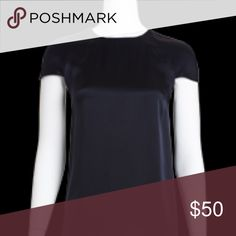Navy Charmeuse Cape Blouse What goes better with white slacks than navy for a classic summertime look. Worth Tops Blouses