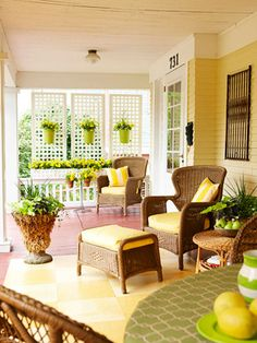 Porch Ideas... Lattice screens for privacy. Not that we have a porch, but just in case we ever do.