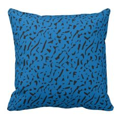 Blue and Black Leopard Print Pillow.  Look for matching Decor that go with this design in my store.  Designs by DonnaSiggy. (Donna Siegrist)  #pillow #throwpillow #home #decor  #pinoftheday #zazzle #gifts #trendy www.zazzle.com/designsbydonnasiggy?rf=238713599140281212