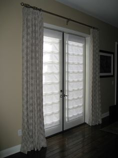 Window Treatment Ideas for Doors - 3 Blind Mice Window Coverings Blinds For French Doors, Sliding Door Window Treatments, Family Room Decorating, Home, Craftsman Curtains, Living Room Spaces, Window Coverings, Living Room Door, Window Wall Decor