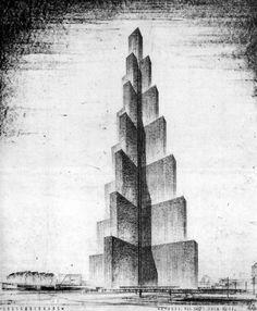 FRITZ HÖGER    DESIGN FOR A 250m-TALL SKYSCRAPER IN HAMBURG, 1937