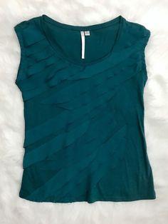 LC Lauren Conrad Teal Scalloped Ruffle Blouse Tee Shirt Medium  | eBay