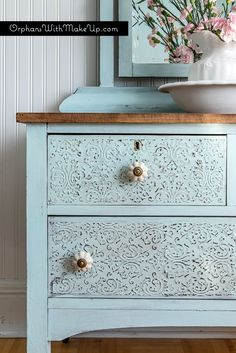 Embossing Plaster Dresser #DIY #furniturepainting #raisedstencileffect…