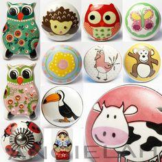 MIX & MATCH Kids Childrens Novelty Ceramic Door Knobs Handles Cupboard Drawer