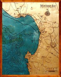 Image of Monterey, CA Wood Map