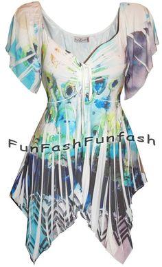 VA3 FUNFASH SLIMMING WHITE BLUE FLORAL WOMEN PLUS SIZE TOP SHIRT BLOUSE 2X 22 24 #Funfash #Blouse #Casual