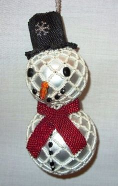 beaded christmas ornament patterns | X323 Bead PATTERN ONLY Beaded Frosty Snowman Christmas Ornament Cover ...