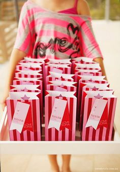 Sweet Style - party bags with cute thank you tags 8th Birthday, Birthday Party Themes, Gymnastics Party, Pink Parties, Sweet Style, Party Bags, Kids Meals, Party Planning, Party Time